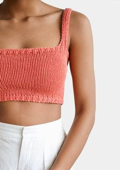 Square Neck Crop Top Minimal Knit Top Cropped Yoga Top Hand Knit Square Neckline Sports Knit Bra Fitted Cotton Bralette in Coral Orange - Source by - Cotton Bralette, Bralette Tops, Sports Bralette, Cropped Tops, Vogue Knitting, Hand Knitting, Knitting Ideas, Knitting Patterns, Knitting Tutorials