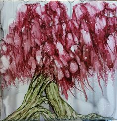 Tree in alcohol ink on 6x6 tile. Just for fun,  By Tina
