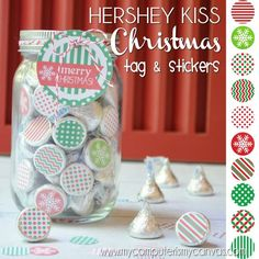Printable CHRISTMAS Kiss Stickers - comes with Gift Tag & Mason Jar LID TOPPER... so cute!! Perfect for a neighbor gift, teacher treat, party favor... #mycomputerismycanvas