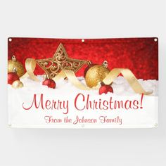 #promo Personalized Christmas Banner Red Gold Star #personalized #christmas #banner #merry #christmas #affiliatelink #merrychristmassigns #merrychristmas #holidaysigns #christmasdecor Merry Christmas Sign, Christmas Poster, Christmas Banners, Christmas Decorations, Holiday Signs, Outdoor Banners, Gold Stars, Red Gold, Gift Tags