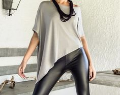 Sequin Asymmetric Top Blouse with Black Leather by SynthiaCouture
