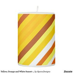 Yellow, Orange and White Sunset-Inspired Stripes