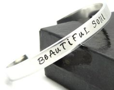 Beautiful Soul Hand Stamped Cuff Bracelet - Personalized in Bronze or Aluminum - Perfect for Gift