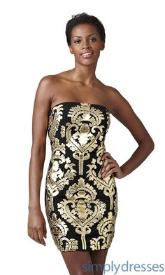 cheap Short Strapless Black and Gold Dress_Popular Dresses_cheap 2012 Popular Dresses, Formal Dresses, Prom Dresses, Evening Wear at 4Evening Dresses sale