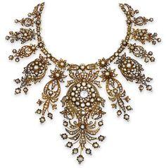 An antique diamond necklace, circa 1880.