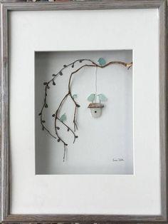 Sea Glass as art - doable Genuine SeaGlass Pebble Art Bird Family with Bird House in a #birdhouseideas
