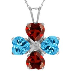 380 Ct Heart Shape Red Garnet Swiss Blue Topaz 925 Sterling Silver Pendant 18 >>> Click image to review more details.Note:It is affiliate link to Amazon.
