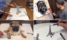 The drawings that jump off the page! Artist's eye-popping 3D paintings
