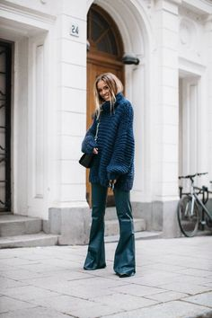 chunky knit ganni leather flare pants by malene birger... - Fall-Winter 2017 - 2018 Street Style Fashion Looks