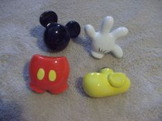NWT, 6 Disney Mickey Mouse Hands Ceramic Drawer Pulls, Knobs, HTF ...