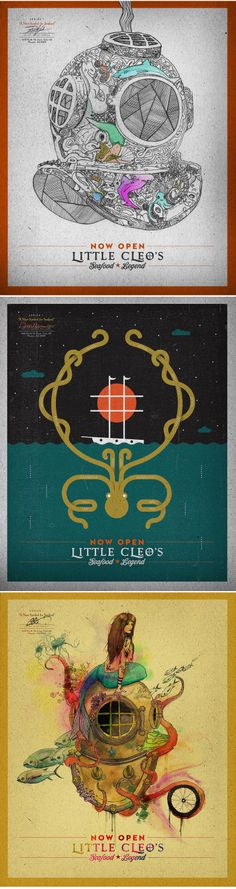 Poster series for Little Cleo's Seafood Legend restaurant, located at The Yard in Central Phoenix.