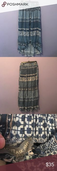 Blue mermaid skirt Higher in front than back. One size fits all- I would say to be safe best for someone between XS and M. Perfect condition. Brand is DONT ASK WHY not Free People. Free People Skirts