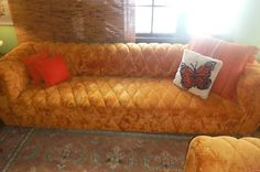RARE Retro 60's 70's Vintage Matching Couch Sofa Loveseat Pumpkin Orange   eBay