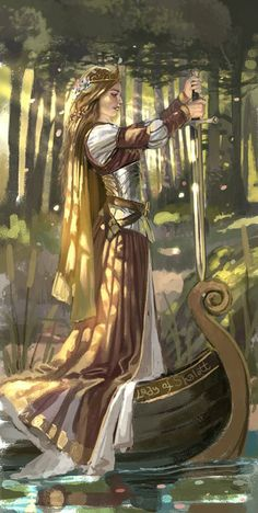 Beautiful version of the Lady of Shallot. Lovely use of light in this. I'd love to know the artist!
