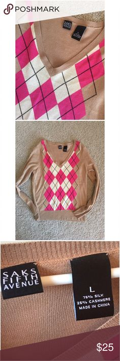 🎀SAKS Silk Cashmere Sweater Gorgeous! Very gently used. Argyle print. ✨Top Rated Seller ✨ 💨 Fast Shipping Times 💨 💕Quick Responses 💕 ✅ Great Items ✅ 🛍 Awesome Bundle Deals 🛍 😃Thanks For Visiting! 😃 Saks Fifth Avenue Sweaters V-Necks