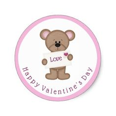 Cute Bear Valentine's Day Stickers - click/tap to personalize and buy