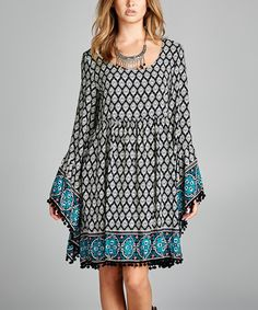 Look what I found on #zulily! Turquoise Geometric Bell-Sleeve Boatneck Dress - Plus #zulilyfinds