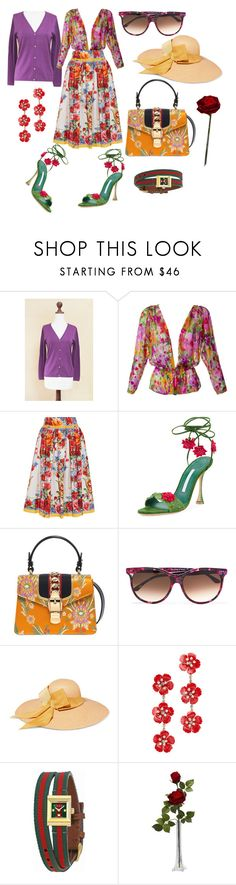 """""""Floral Beauty ❤️"""" by p0llyinurpocket ❤ liked on Polyvore featuring NOVICA, Yves Saint Laurent, Dolce&Gabbana, Manolo Blahnik, Gucci, Thierry Lasry, Sensi Studio, Jennifer Behr and Nearly Natural"""