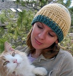 Cat and the Hat Rib Cuff Beanie pattern by Kathy North