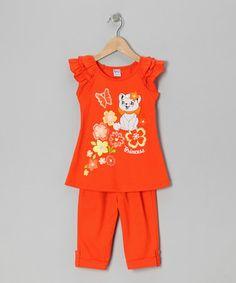 Look what I found on #zulily! Orange Floral Cat Tunic & Leggings - Toddler & Girls #zulilyfinds