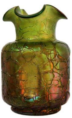 Pallme König Jugendstil Glas Vase Glasvase um 1900 grün art nouveau glass