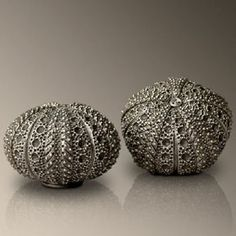 Sea Urchin pewter salt and pepper shakers