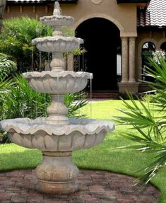 Front Yard Garden Design Water Fountains, Front Yard and Backyard Designs - Water fountains are beautiful and modern front yard and backyard ideas that add more interest and style to landscaping, creating pleasant environment and cooling effect Front Yard Fountains, Backyard Water Fountains, Garden Fountains, Outdoor Fountains, Homemade Water Fountains, Front Yard Garden Design, Small Garden Design, Front Yard Landscaping, Landscaping Ideas