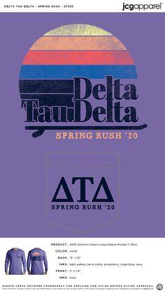 Delta Tau Delta Spring Rush Shirt | Fraternity Spring Rush Shirt | Greek Spring Rush Shirt #deltataudelta #dtd #Spring #Rush #Shirt Fraternity Rush Shirts, Sorority And Fraternity, Delta Tau Delta, Recruitment Themes, Custom Design Shirts, Spring Design, Spring Break, Shirt Ideas, Banners