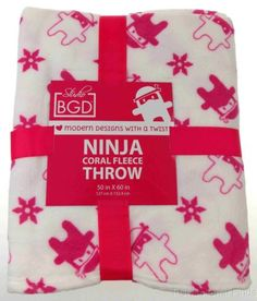 Studio BGD Ninja Coral Fleece Plush Throw Blanket Cover Atomic Pink White 50x60""