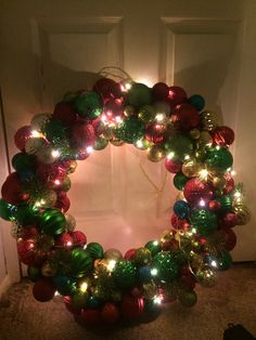Pool noodle wreath with fairy lights