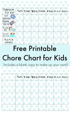Free Printable Chore Chart for Kids - there's even a blank printable chart to write in jobs for older kids!