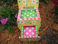 Whimsical Wooden Painted Daisy Jewelry Box or Doll Dresser