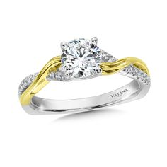 Valina - Diamond Engagement Ring Mounting in 14K White/Yellow Gold (.12 ct. tw.) #R9895WY