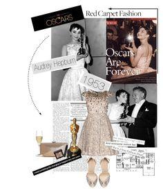 """Oscars Fashion Flashback: Audrey Hepburn"" by hello-barbie ❤ liked on Polyvore featuring moda, Lulu Townsend, Alice + Olivia, Kane, Zara, Stila i Riedel"