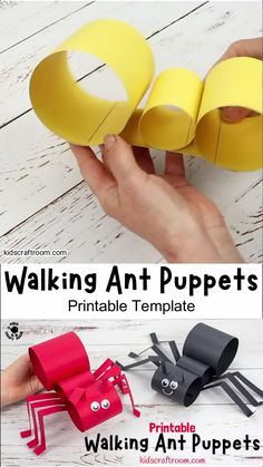 This Walking Ant Craft is super fun and will inspire lots of imaginative play. The ant puppets are nice and chunky for little hands and easy to make with the printable template. You can make your paper ants move by gently twisting your wrist from side to side. Such a fun activity to start learning about ant body parts. #kidscraftroom #kidscrafts #antcrafts #ants #puppets #puppetcrafts #papercrafts #printablecrafts Halloween Crafts For Toddlers, Animal Crafts For Kids, Summer Crafts For Kids, Craft Activities For Kids, Toddler Crafts, Preschool Crafts, Diy For Kids, Kids Crafts, Ant Crafts