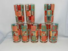 Vintage Mid-Century Fred Press Coat of Arms High Ball Glasses