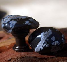 Cabinet Knobs  Snowflake Obsidian  Set of 2 by KnuckleheadKnobs