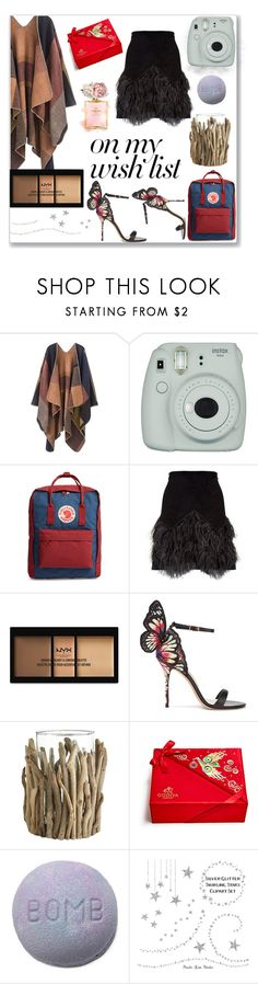 """""""#PolyPresents: Wish List"""" by faustipepa on Polyvore featuring moda, Fujifilm, Fjällräven, N°21, NYX, Sophia Webster, Pier 1 Imports, contestentry y polyPresents"""