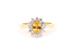 A stunning yellow gold, yellow sapphire and diamond cluster ring. By John Watling. Diamond Cluster Ring, Wedding Jewelry, Sapphire, Wedding Day, Stud Earrings, Engagement Rings, Jewellery, Yellow, Gold