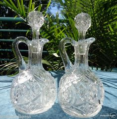 Set of 2 Matching Victorian EAPG Blown Clear Glass Cruets with Stoppers