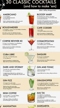Bartender Drinks, Alcoholic Cocktails, Liquor Drinks, Fun Cocktails, Summer Drinks, Cocktail Drinks, Simple Cocktail Recipes, Famous Cocktails, Beverages
