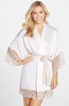 Free shipping and returns on FLORA NIKROOZ 'Gabby' Lace Trim Charmeuse Robe at Nordstrom.com. Edged in sheer delicate lace around the kimono sleeves and hem, this silky charmeuse robe balances luxurious comfort with romantic allure.