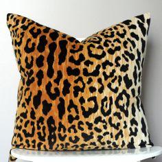 Leopard print cotton velvet decorative pillow cover by StuckOnHue