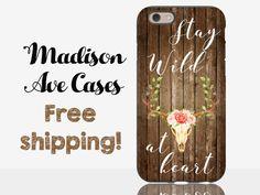 Stay Wild At Heart Deer Antler Flower Rustic Hippie Child Boho Cute Vintage Wood Samsung Galaxy Edge S5 S6 S7 iPhone 5 6 6s Plus Phone Case