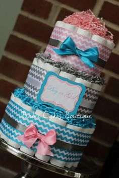 4-Tier Pink & Blue Gender Reveal Diaper Cake by 209 Diaper Cakes ...