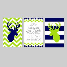 Navy Lime Deer Nursery Baby Boy Nursery Art Trio  by Tessyla