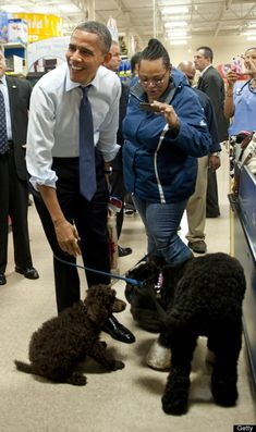 President Obama laughs as his dog Bo sniffs another dog as he shops at Petsmart on Dec. 21, 2011, in Alexandria, Va.