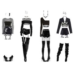 Fashion set BLACKPINK 16 created via Kinrea wardrobe 2 version 1 type 1 and 2 sequence 124 Kpop Fashion Outfits, Stage Outfits, Edgy Outfits, Mode Outfits, Cute Casual Outfits, Grunge Outfits, Girl Outfits, Dance Outfits, Fashion Sets