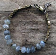 Labradorite Bracelet - Ethnic Brass Beaded Bracelet - Blue Gray Gemstones - Vintage Brass Moon Charm - Charm Bracelet - Moon Bracelet. $42.00, via Etsy.
