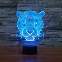 2017 Creative Lion Head Shape night light 7 Color Changing Animal Led illusion Lamp USB LED Desk Table Lamp as Home Deco gift V Logo Design, Lampe 3d, Cnc Cutting Design, Led Desk Lamp, Table Lamp, Led Night Light, Night Lights, Lion Design, 3d Laser